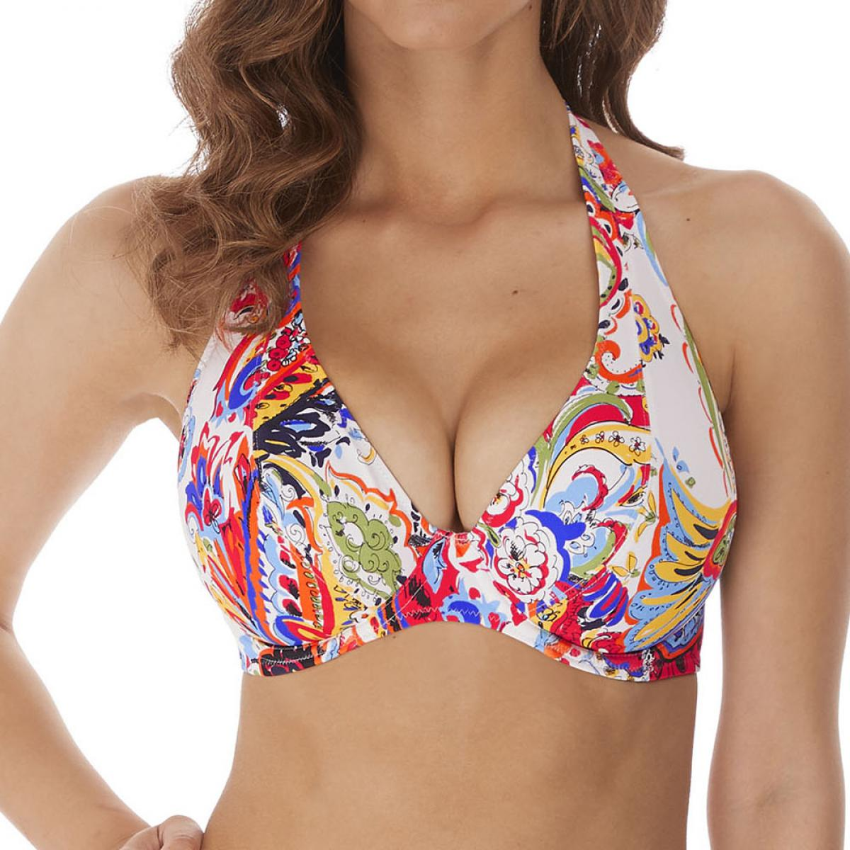 Promo : Haut de maillot de bain plongeant armatures multicolore - Freya maillot - Modalova
