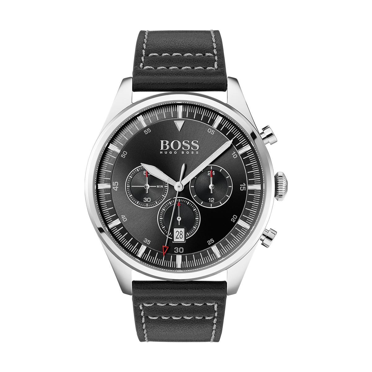 Montre 1513708 - Pioneer chrono Boitier acier Cadran Bracelet cuir - Hugo Boss - Modalova