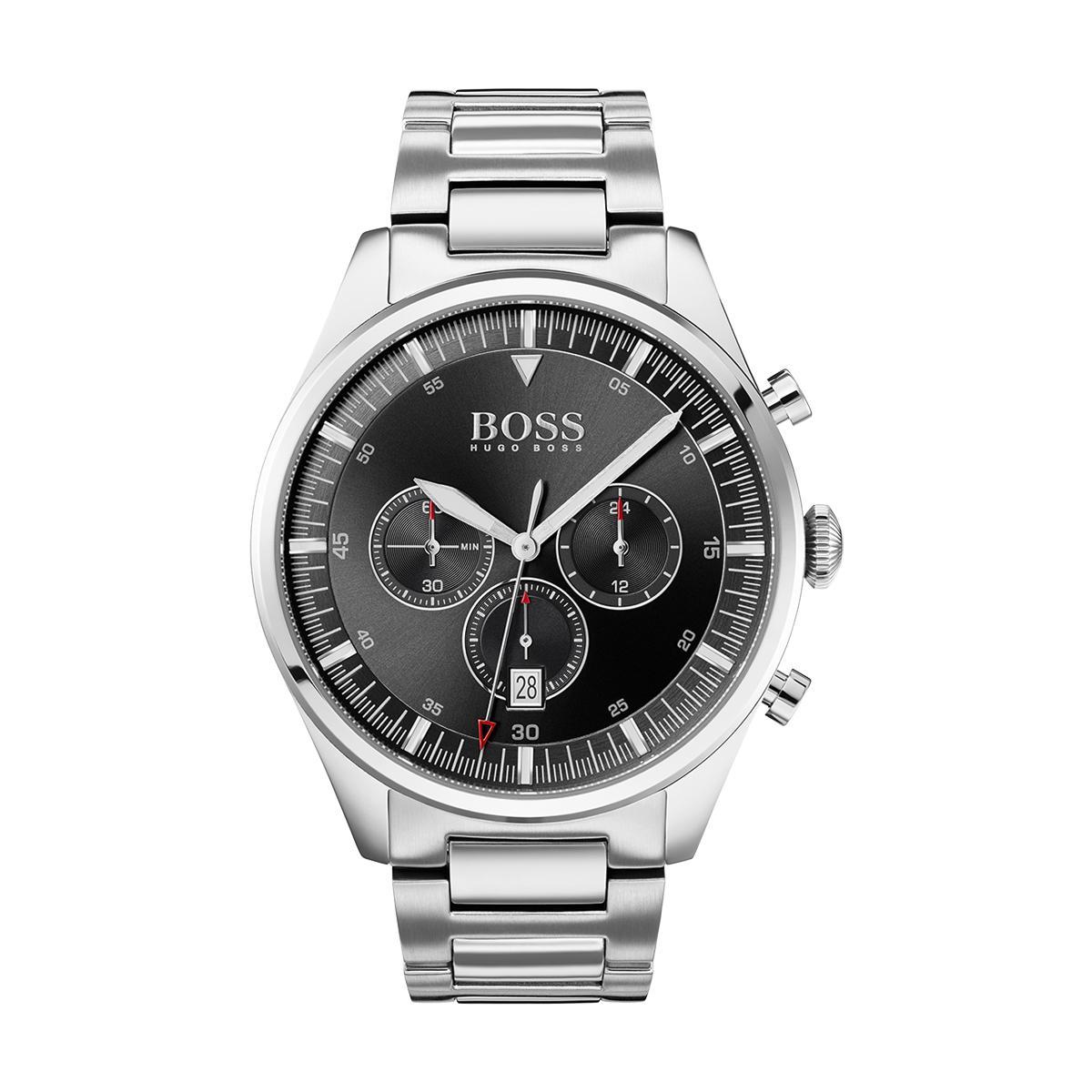 Montre 1513712 - Pioneer chrono Boitier acier Cadran noir Bracelet acier é - Hugo Boss - Modalova