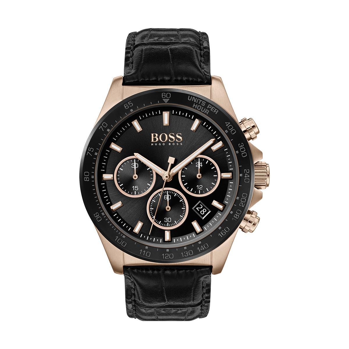 Montre 1513753 - Hero chrono Boitier acier Doré rose Cadran Bracelet cuir - Hugo Boss - Modalova