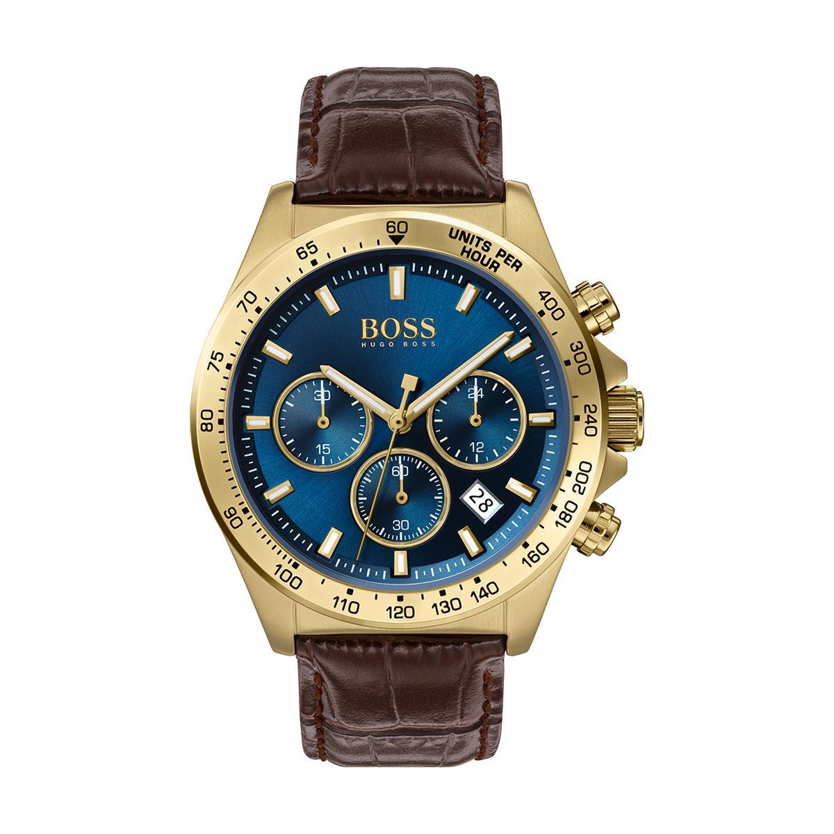 Montre 1513756 - Hero chrono Boitier acier Doré Cadran bleu Bracelet cuir - Hugo Boss - Modalova