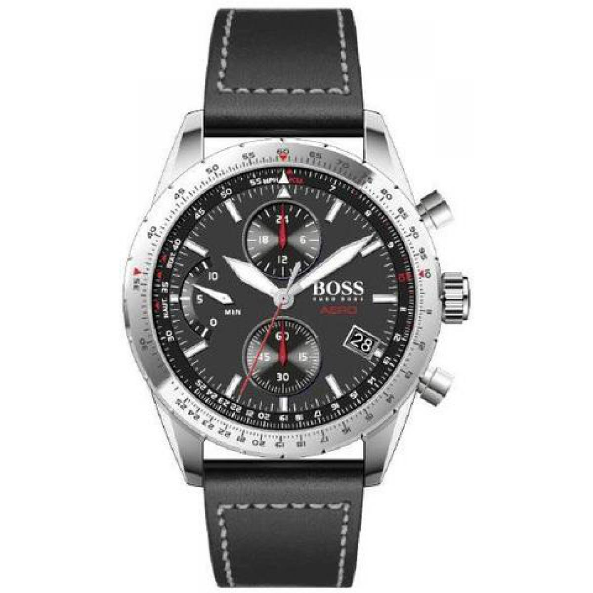 Montre 1513770 - Aero chrono Boitier acier Cadran Bracelet cuir - Hugo Boss - Modalova