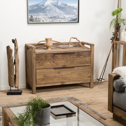 Macabane - Commode ANDRIAN 2 Tiroirs Bois Pin Recyclé - Dressing & rangement