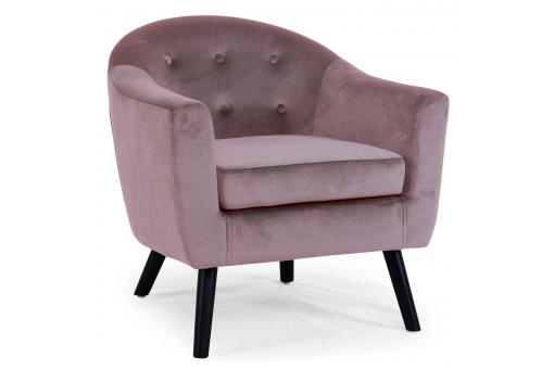 Fauteuil Scandinave Velours Rose OLAF