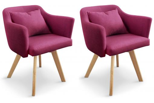 3S. x Home - Lot de 2 Fauteuils Scandinaves Violets LAYAL - Meuble & Déco