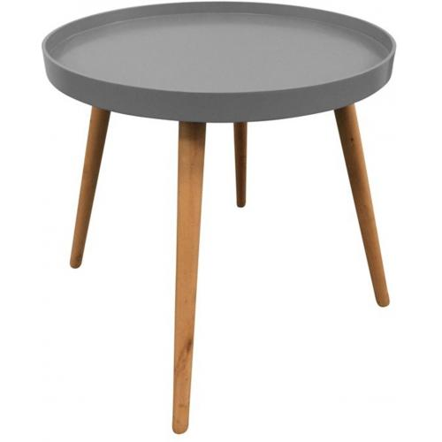 3S. x Home - Table Ronde Plateau Gris DEERE - Table salle à manger