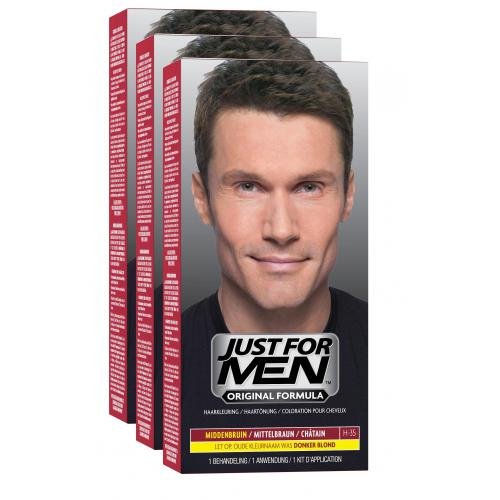 Just for Men - PACK 3 COLORATIONS CHEVEUX - Châtain - Soins homme