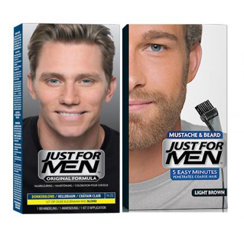 Just for Men - DUO COLORATION CHEVEUX & BARBE Châtain Clair - Coloration naturelle - Soins homme