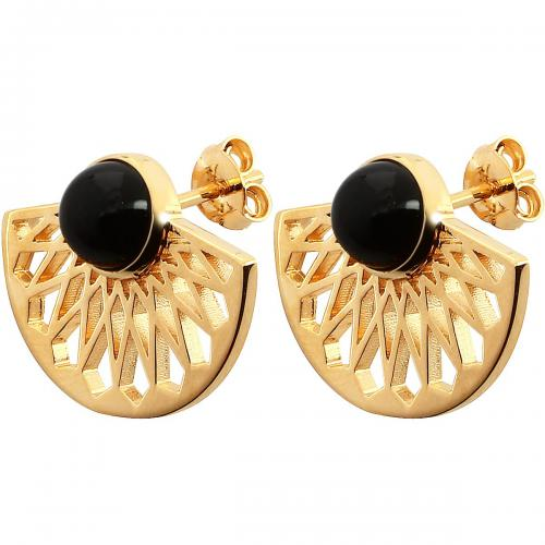 Kosma Paris - Boucles d'oreilles Kosma Paris - Collection Mia Doré & Onyx Noir - Waxy Folie