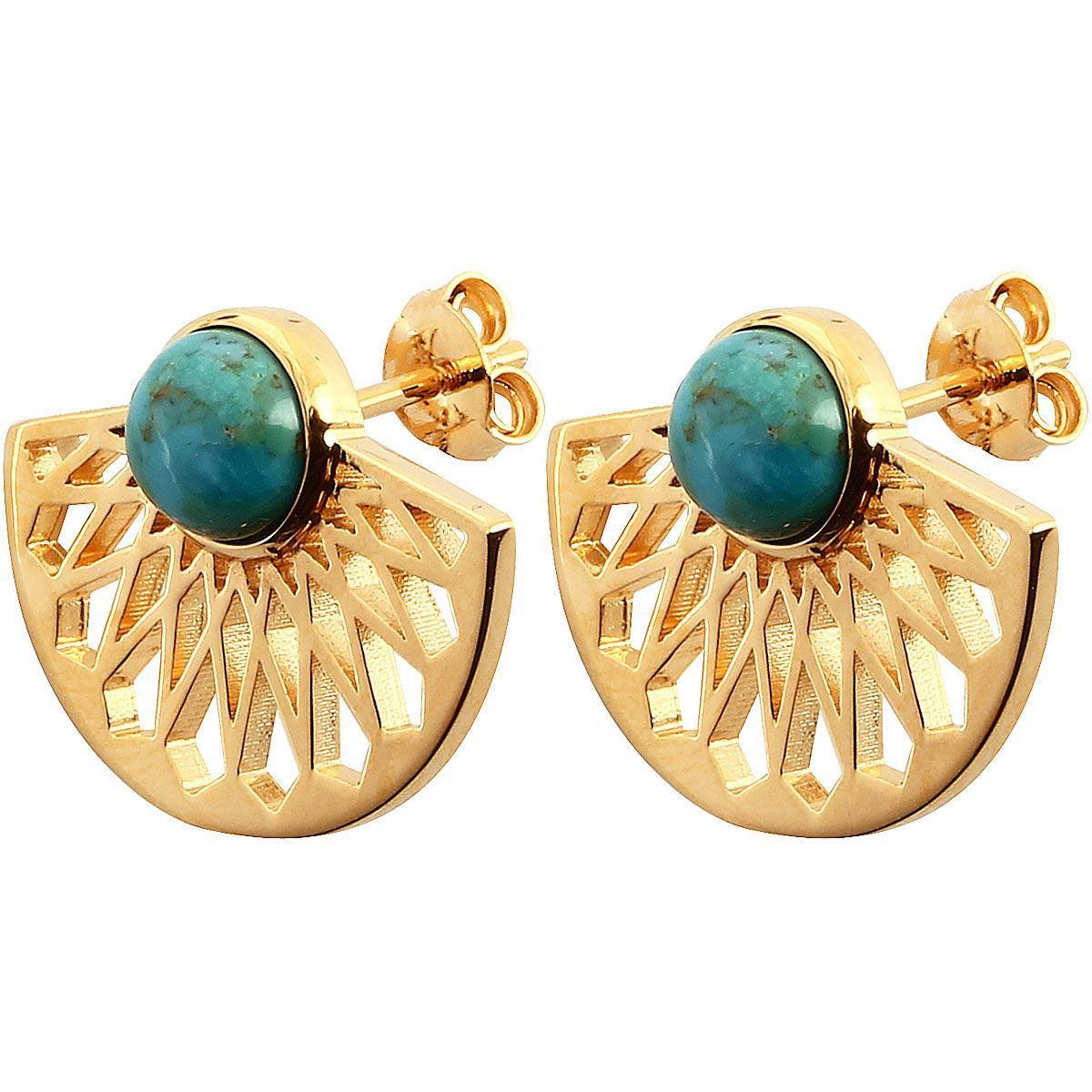 Boucles d'oreilles Kosma Paris - Collection Mia Doré & Turquoise