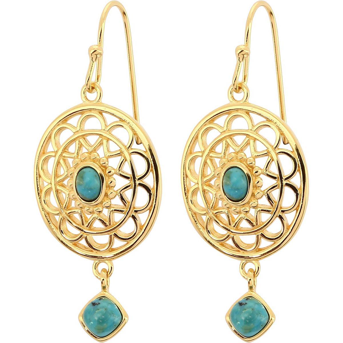 Boucles d'oreilles Kosma Paris - Collection Stella Doré & Turquoise