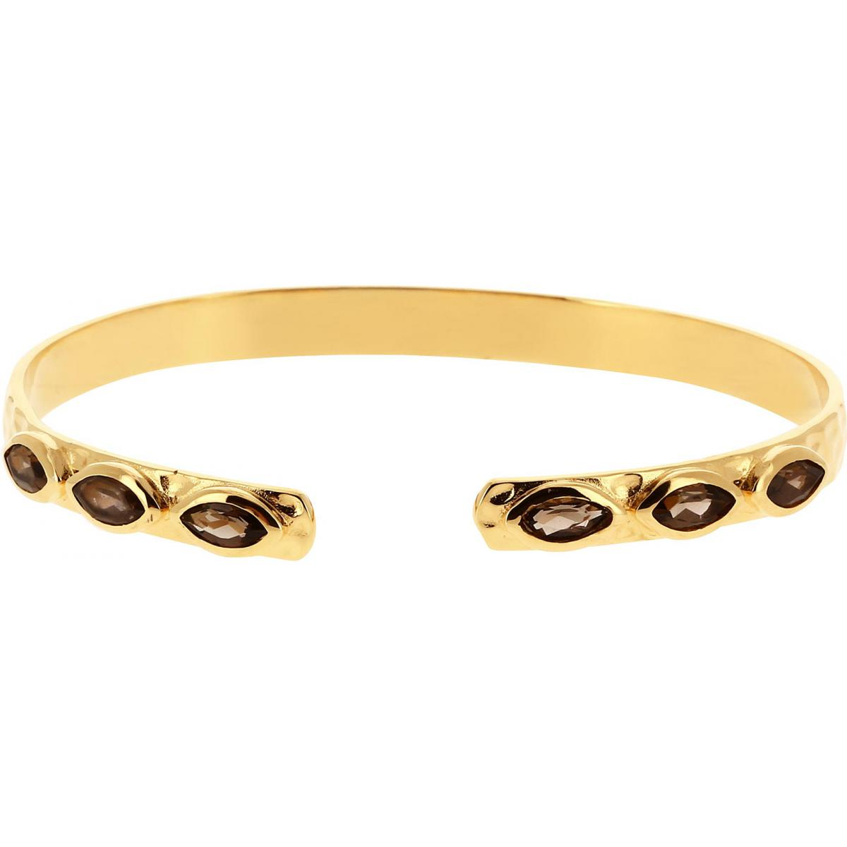Bracelet Jonc Kosma Paris - Collection Kira Doré & Quartz Fumé