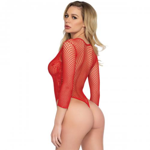 Leg Avenue - Body string manches longues rouge - Lingerie sexy