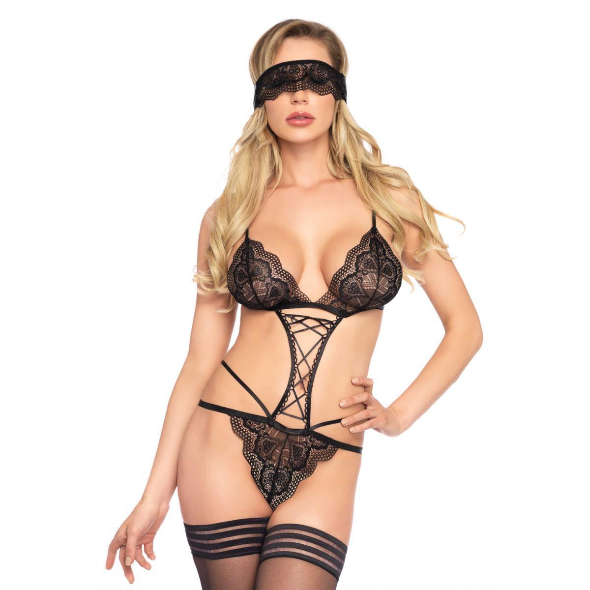 e01674410 Ensemble sexy body et loup noir Leg Avenue