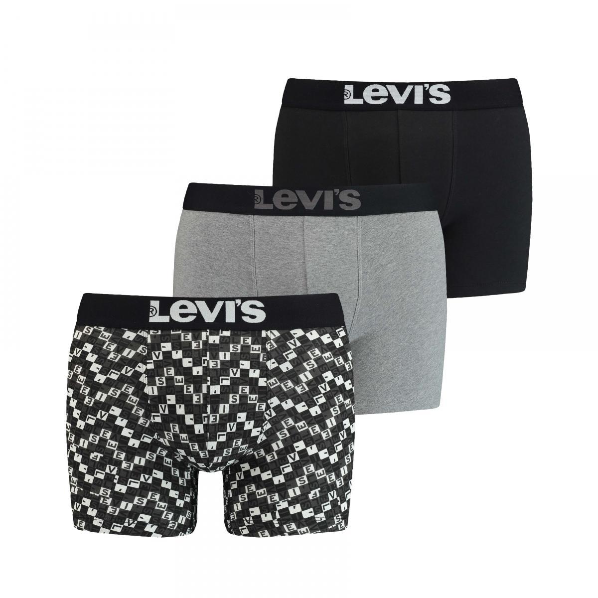 Promo : Pack de 3 boxers Noir/gris/Imprimé - Levi?s Underwear - Levi's Underwear - Modalova