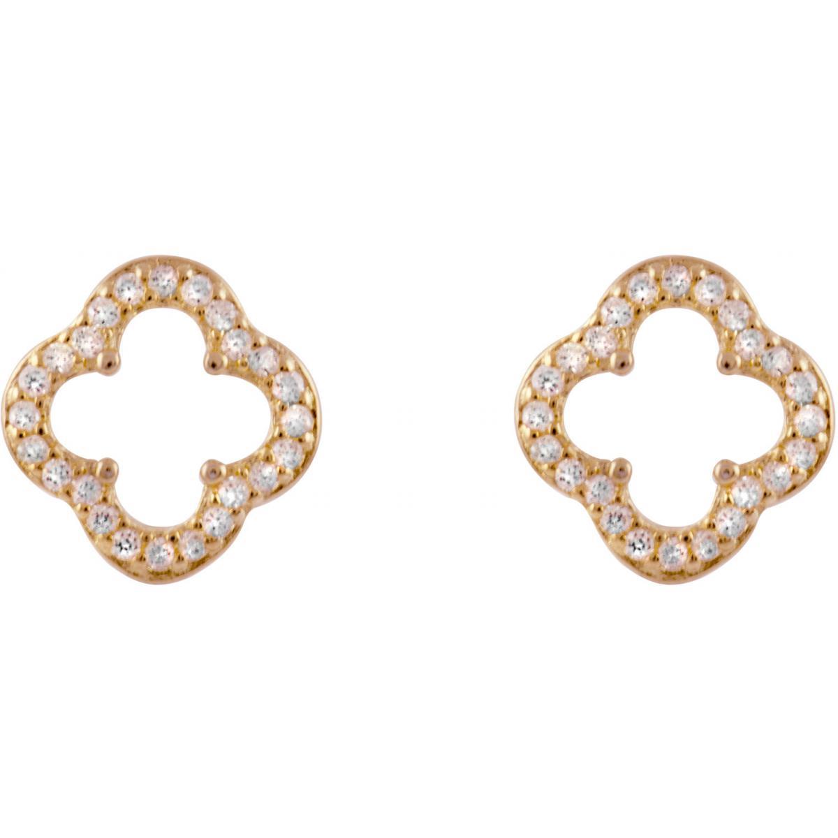 Boucles d'oreilles Luxenter EH100R00 - Boucles d'oreilles Trefle Ajoure Rose Femme