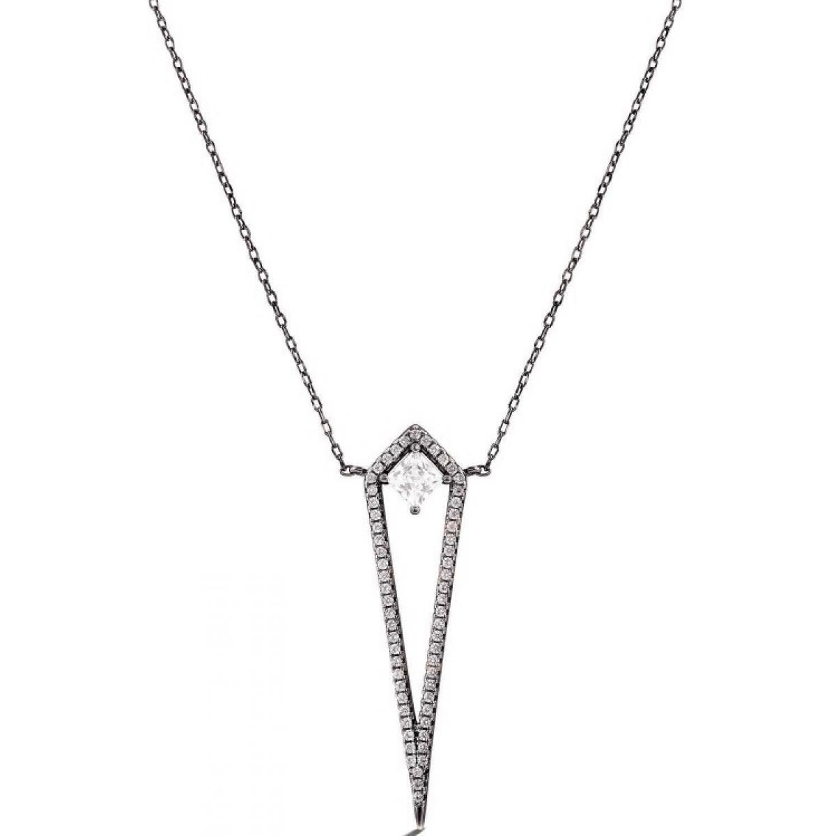 Collier et pendentif Luxenter PT068BK00 - Collier et pendentif MHORA Noir Serti Femme