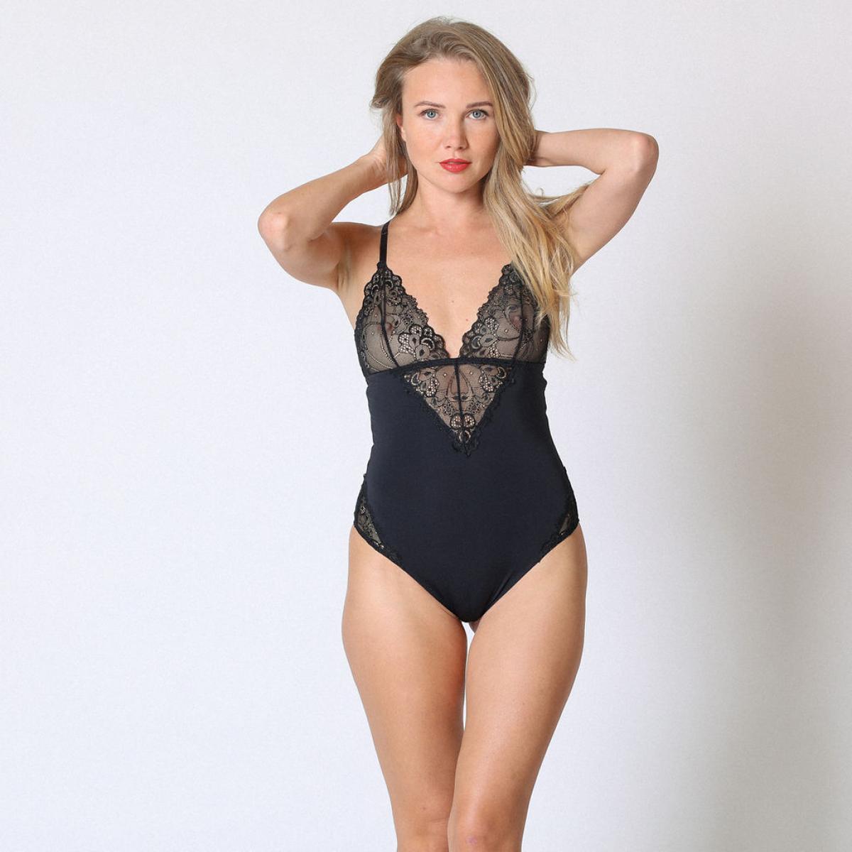 Promo : Body dentelle bi-matière Noir - Midnight Lingerie - Modalova