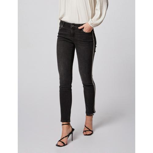 Morgan - Jeans slim taille basse à bandes strass - Jean Morgan