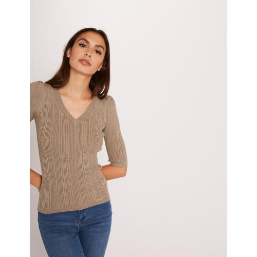 Morgan - Pull manches 3/4 tricotage en côte - Pull, Gilet femme