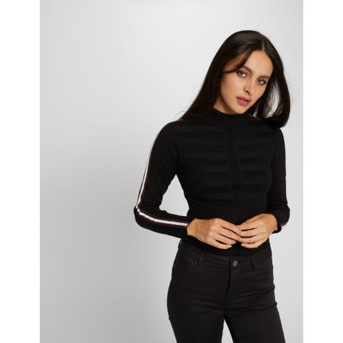 Morgan - Pull manches longues avec bandes - Pull col roule femme