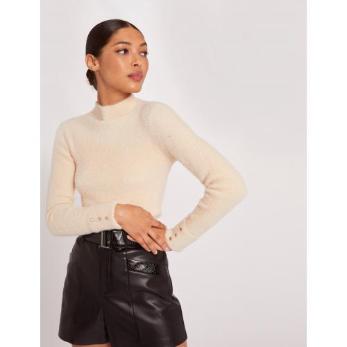 Morgan - Pull manches longues maille duveteuse - Pull col roule femme