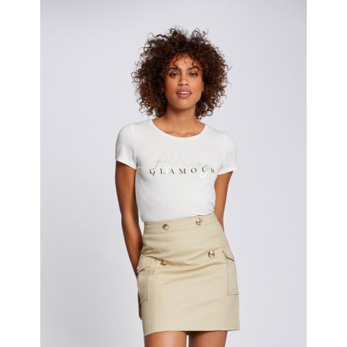 Morgan - T-shirt manches courtes à inscription - Vêtements femme
