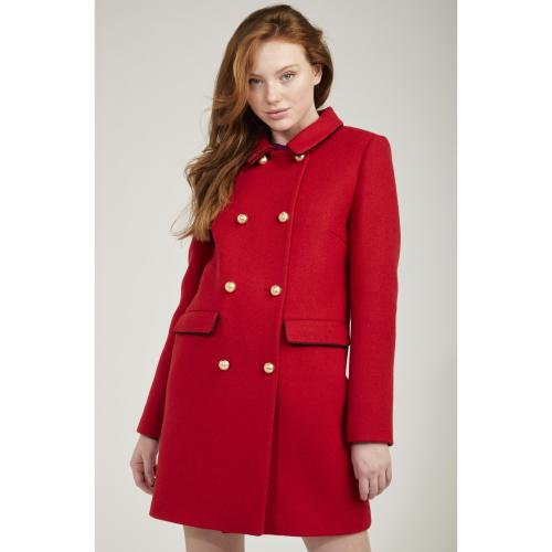 Naf Naf - Manteau rouge long boutonnée - Promos vêtements femme