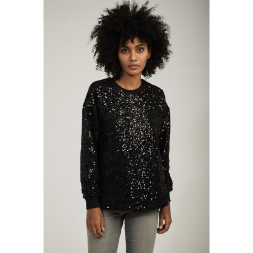Naf Naf - Sweat en detelle noir transparent - Promos vêtements femme