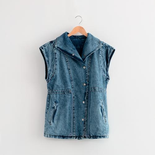 Outside In - Veste sans manche en denim used Bleu - Vestes blazers femme bleu