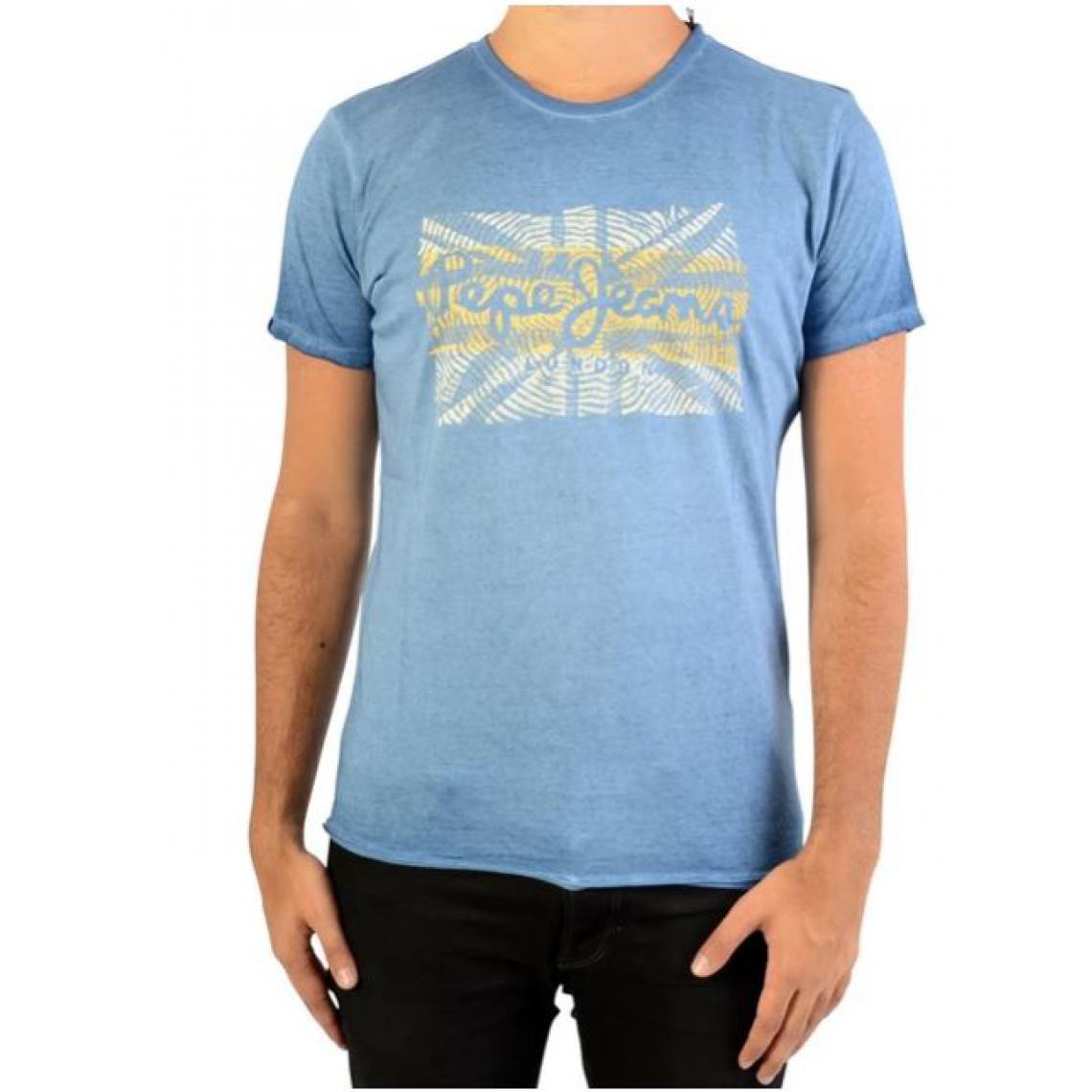 Homme Imprimé Bleu Pepe Shirt Manches Jeans Courtes Drapeau Tee xedBoC