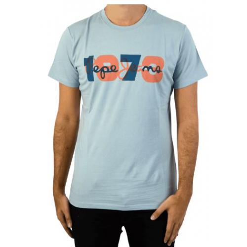 Pepe Jeans - Tee-shirt manches courtes imrimé Pepe Jeans bleu homme - T-shirt / Polo