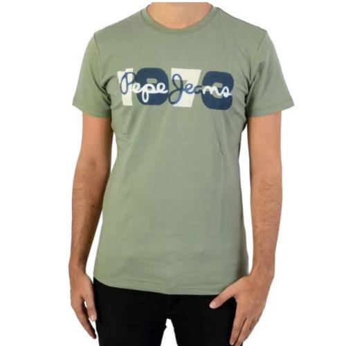 Pepe Jeans - Tee-shirt manches courtes imrimé Pepe Jeans kaki homme - T-shirt / Polo