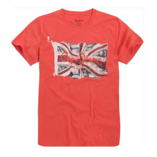 Pepe Jeans - Tee-shirt manches courtes imprimé UK rouge homme Pepe jeans - T-shirt / Polo