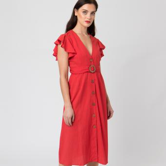 Pia Rossini - DUNE ROBE - COTON / LIN - rouge - Robe Rouge