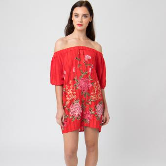Pia Rossini - ZELLA BARDOT ROBE - rouge - La mode