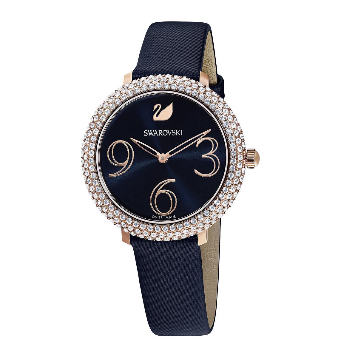 Promo : Montre Swarovski 5484061 - Bracelet Soie Bleu Lunette Micro-Pavé Cadran Rayon de soleil - Swarovski montres - Modalova