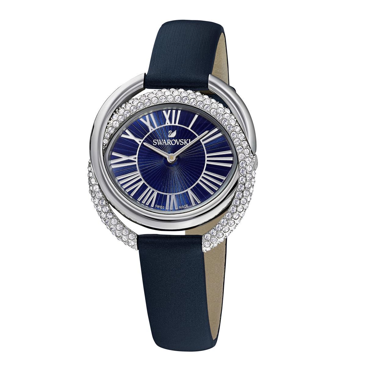 Montre Swarovski 5484376 - DUO Bracelet Cuir De Veau Boîtier Acier Anneaux Entremêlés Cristaux Sertis Micro-Pavé - Swarovski montres - Modalova