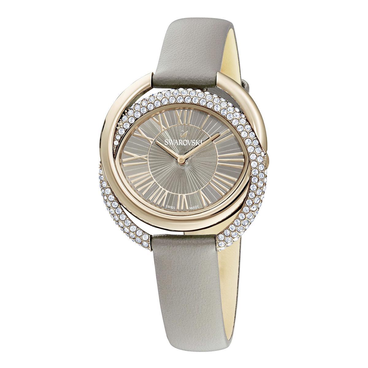 Montre Swarovski 5484382 - DUO Bracelet Cuir De Veau Boîtier Acier Anneaux Entremêlés Cristaux Sertis Micro-Pavé - Swarovski montres - Modalova