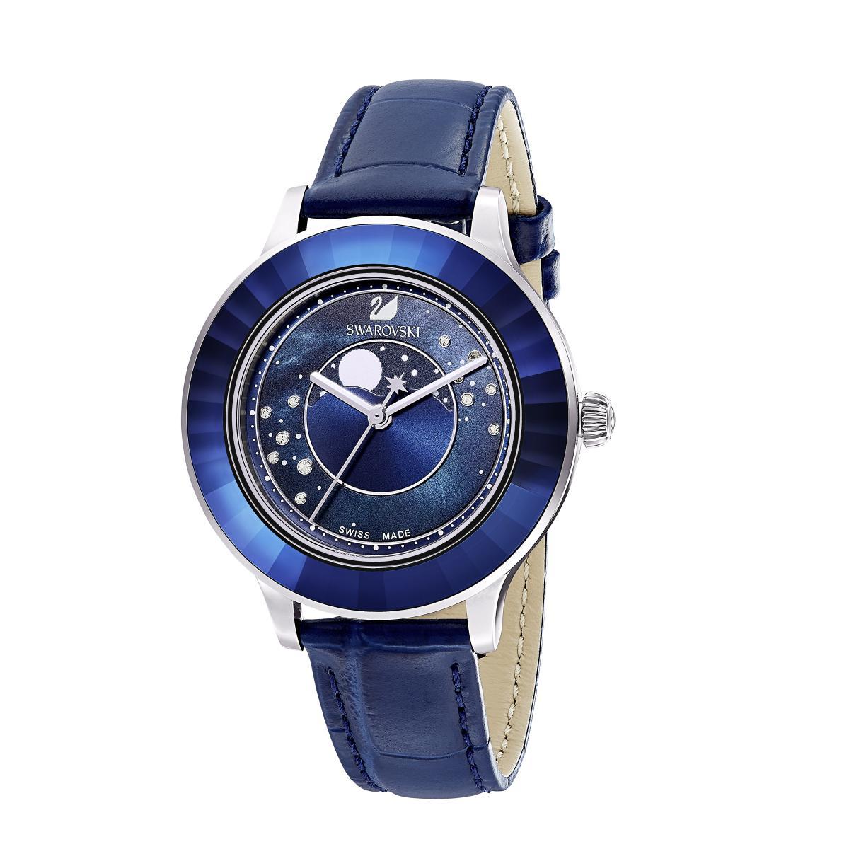 Montre Swarovski 5516305 - Octea Lux Cadran Phase Lune Bracelet Cuir Lunette Cristal Dark Indigo - Swarovski montres - Modalova