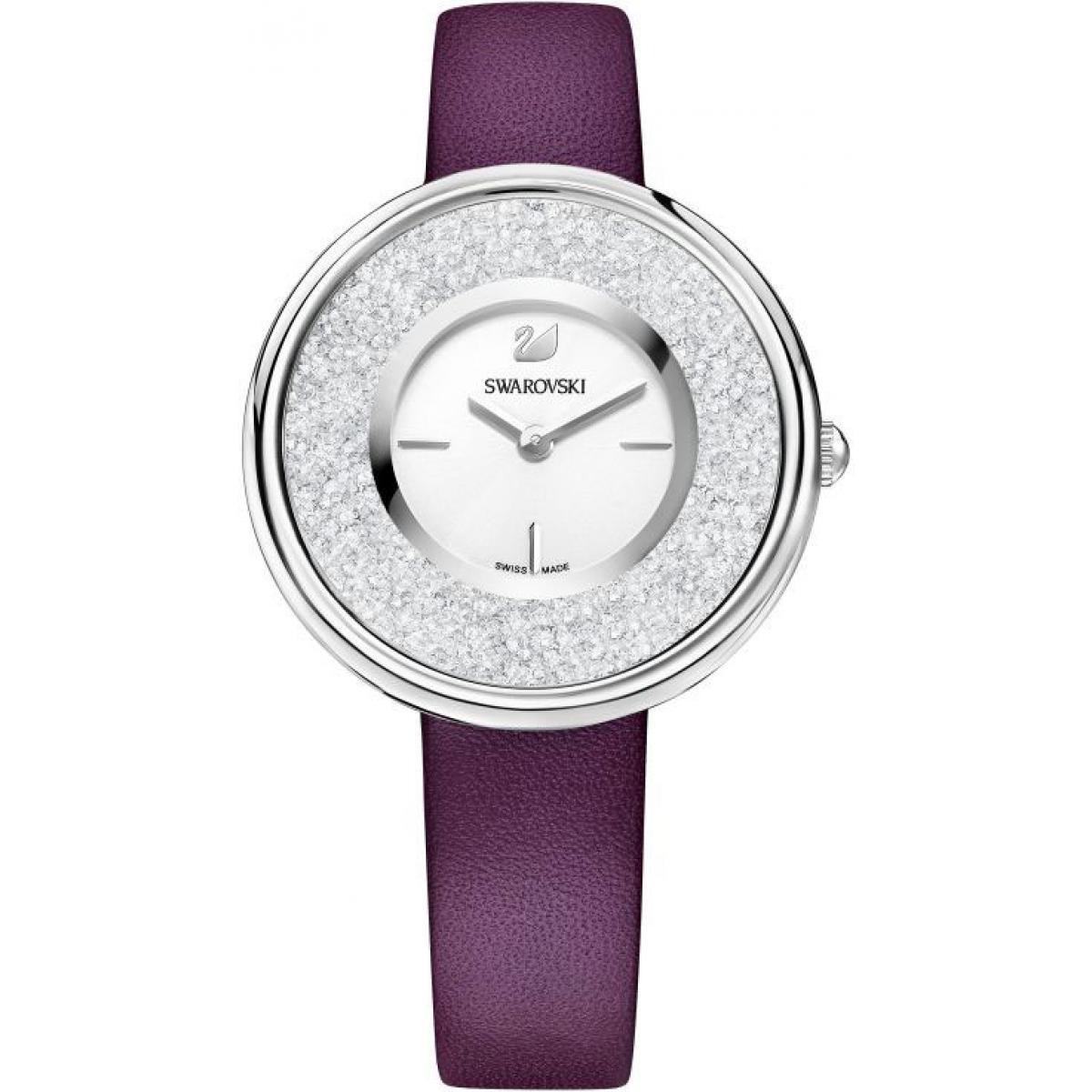 Montre Swarovski 5295355 - Montre Cristaux Swarovski Cuir Bordeaux - Swarovski montres - Modalova