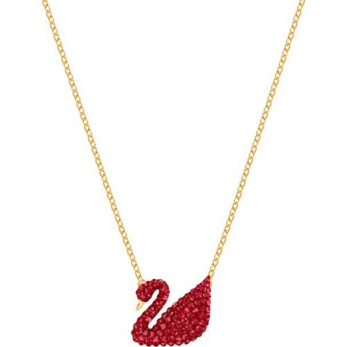 Swarovski - Collier et pendentif Swarovski 5465400 - Iconic swan, rouge,  métal doré Femme