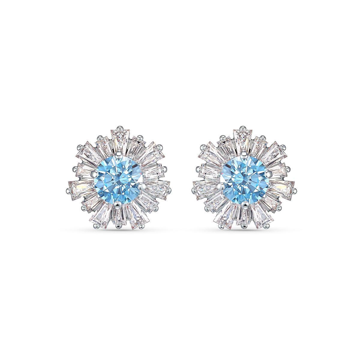 Femmes Mode élégante Boucles D/'oreilles Clous Cristal Strass Fleur Bleu Bijoux