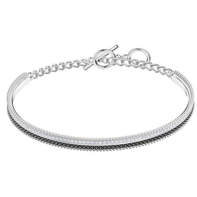 nouveau style 22f66 6cde8 Bracelet Swarovski Bijoux 5424233 - Acier Argenté et Noir Cristaux  Swarovski Femme