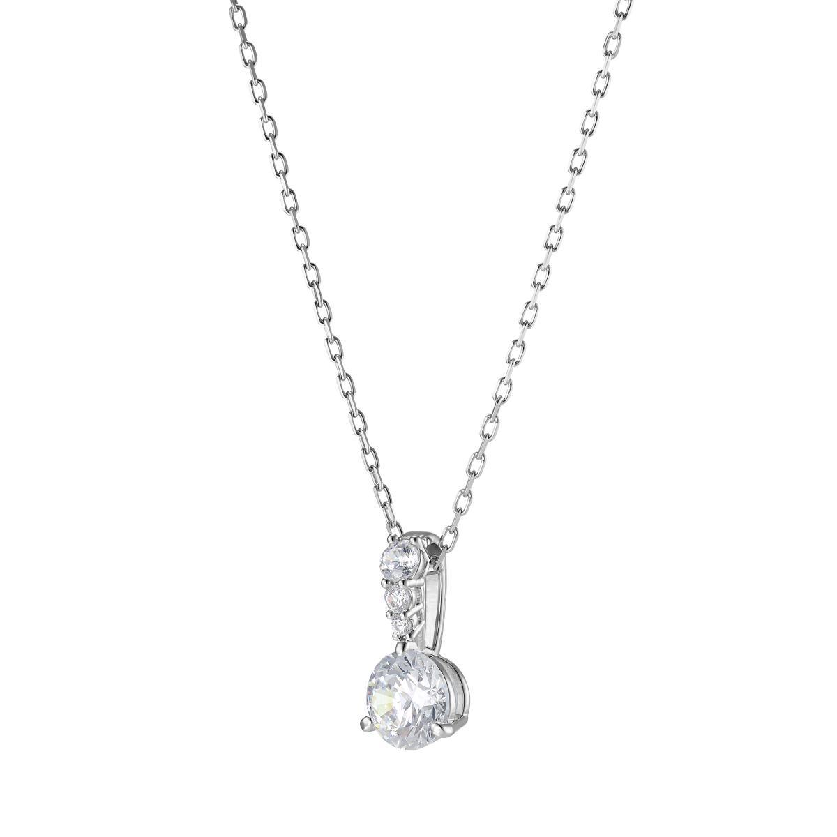 Collier et pendentif Swarovski 5472635 - Pendentif Solitaire Métal Rhodié  et Cristaux Étincelants Femme