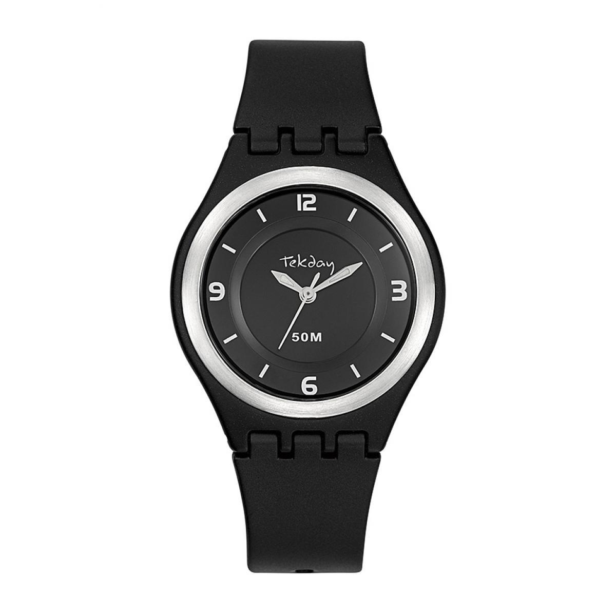 Montre 654642 - Bracelet Silicone Noir Boitier Silicone Noir - Tekday - Modalova