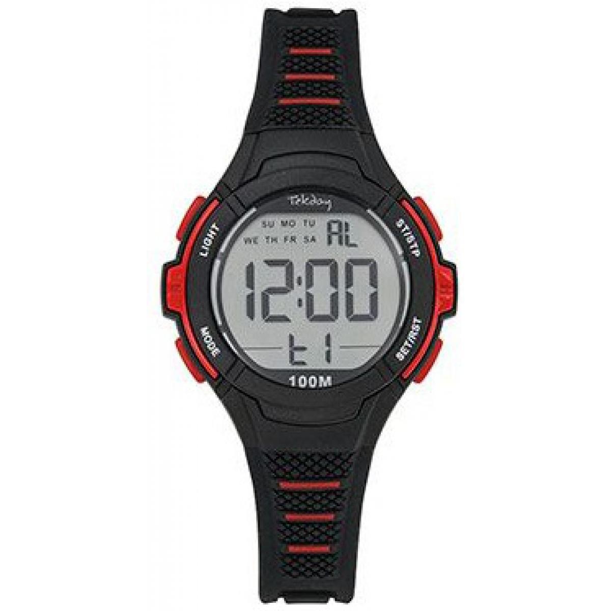 Montre Junior 654662 - Bracelet Silicone Noir Boitier Silicone Rouge - Tekday - Modalova