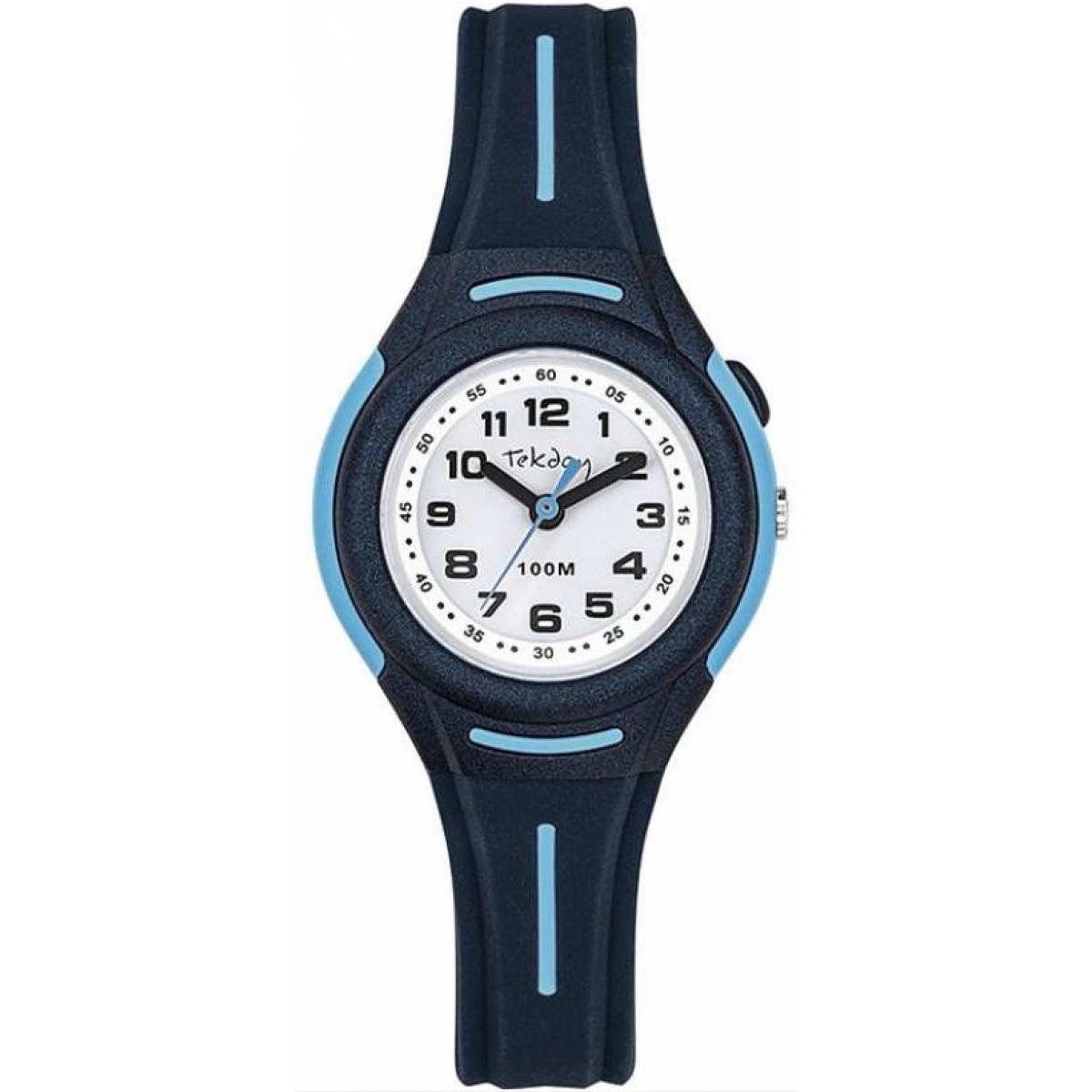 Montre 654673 - Montre Boîtier Silicone Bleu Bracelet Silicone Bleu - Tekday - Modalova