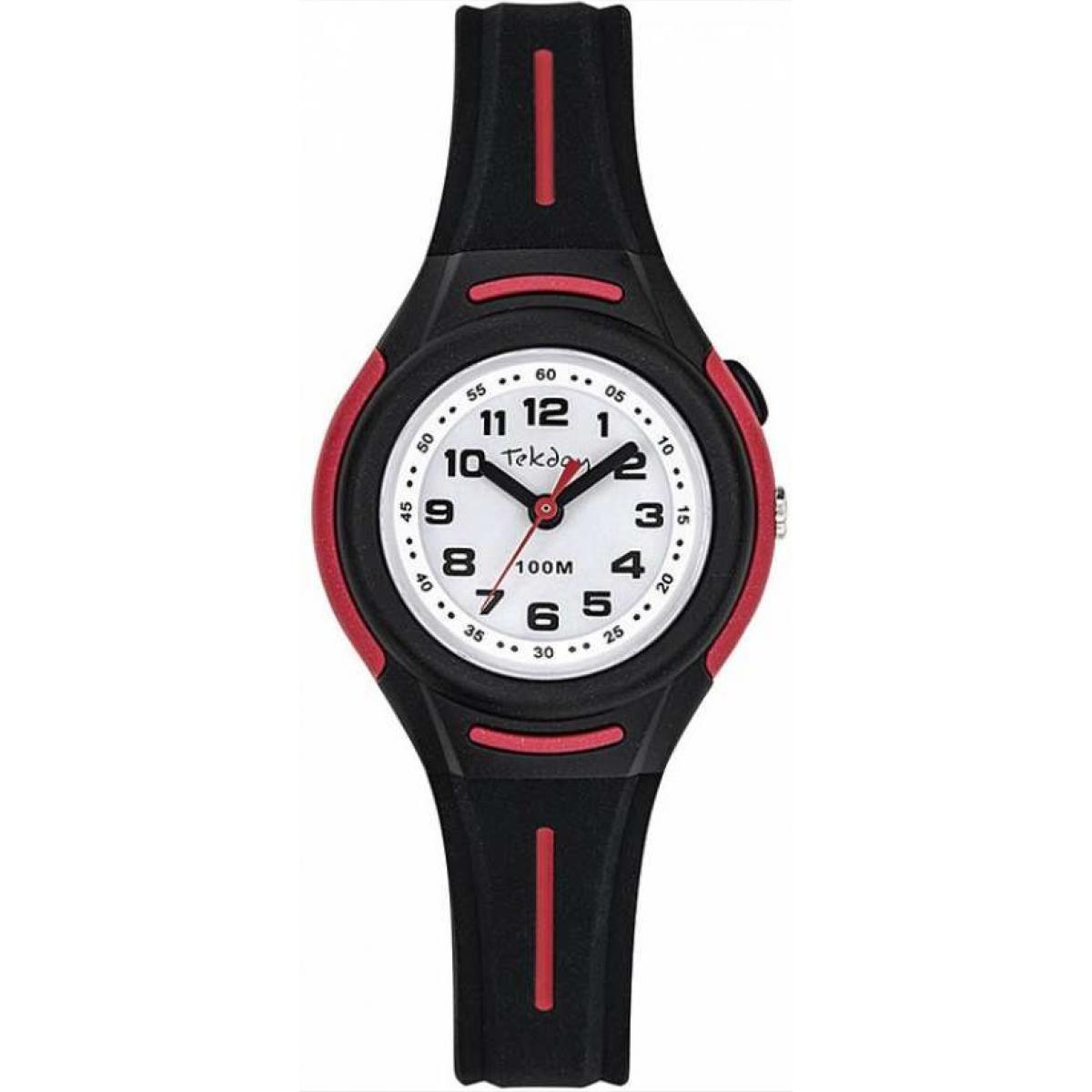Montre 654674 - Montre Boîtier Silicone Rouge Bracelet Silicone Noir - Tekday - Modalova