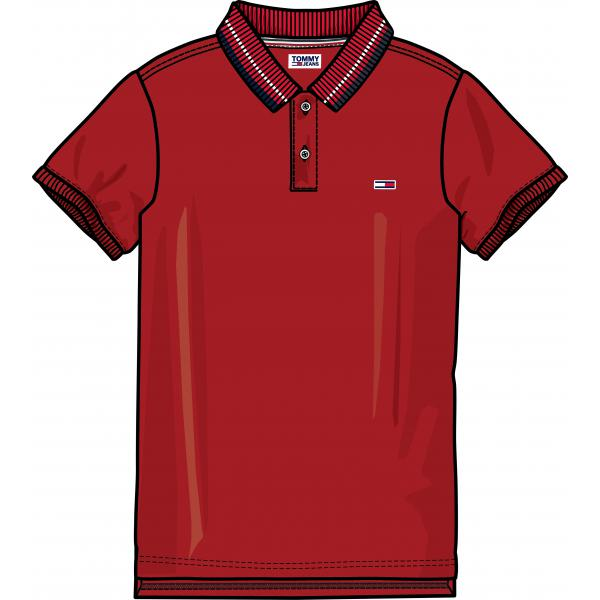Polo manches courtes homme Tommy Jeans - Rouge Tommy Jeans Homme